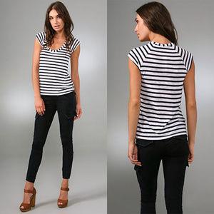Splendid Short Sleeve Tee White & Blue Stripe XL